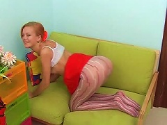 Patterned Pantyhose Cling To Young Ass