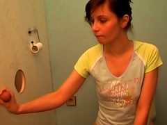 Short-haired Brunette Suck A Dick In The Toilet