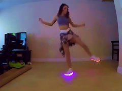 Chick Got Moves In Her Glowing Shoes