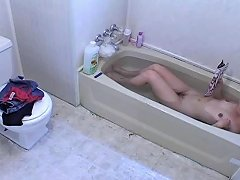 Hairy Teen Has A Wank At Bathtime